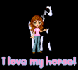 I love my horse! cute girl with a pinto horse